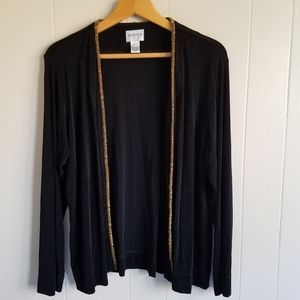 Chico's Travelers open front cardigan beading 3 XL